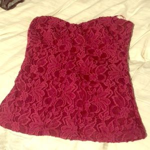 Lace bustier with full zipper back
